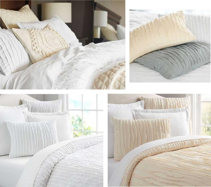 Camille Ruched Solid Modern Bedding Sets Soft 4 Pcs With Different Size