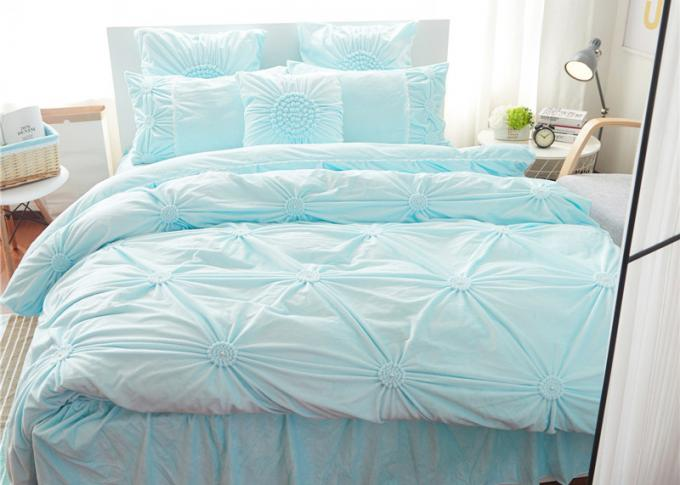 Pink / Blue / White Ruched Home Comforter Bedding Sets 4 Pcs 100% Cotton