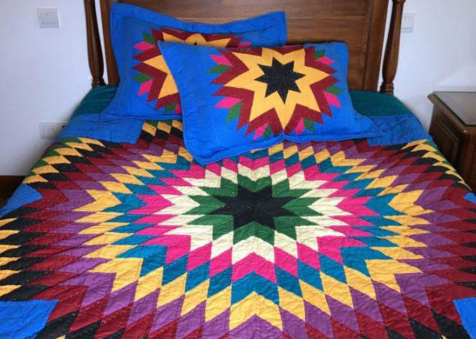 Geometric Design Handmade Bedding Sets , 100% Cotton Colorful Bedding Sets