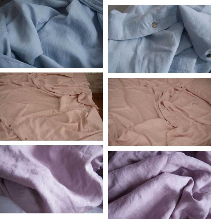 100% Linen Soft Twin Size Bedding Sets 4 Pcs Colorful Duvet Cover