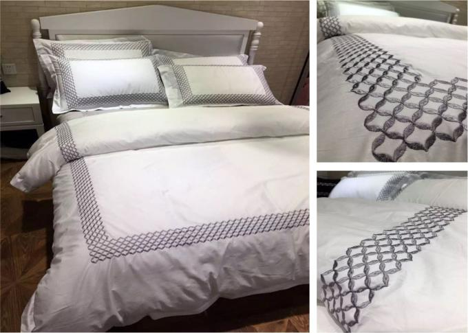 Embroidered Cotton Duvet Covers , Pretty White Duvet Covers And Shams