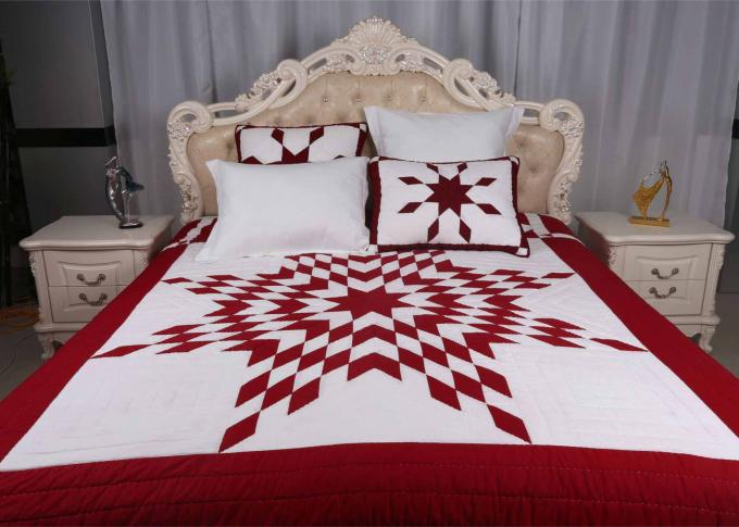 Unique Lone Star Geometric Bedspreads And Coverlets Red / White For Home