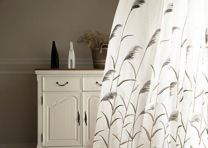 Country Style white window curtains , Embroidered modern bedroom curtains