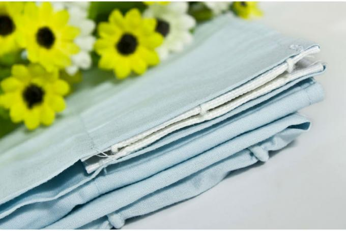 Ruffled Blackout Modern Window Curtains Light Blue Color 100% Cotton Country Style