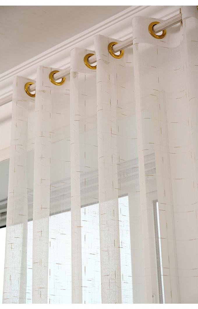 Linen Yarn Blending Pure White Bathroom Window Curtains With Different Size