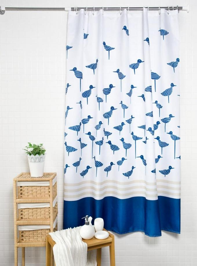 Waterproof Printed White Bathroom Shower Curtains Thickening Plated Style