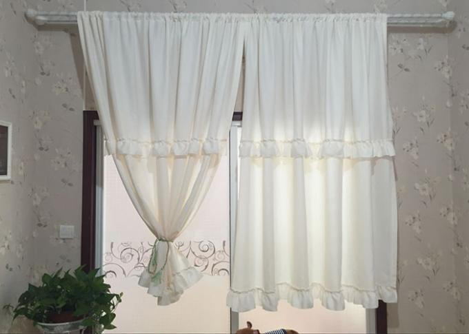 Pure White Ruffle Bathroom Shower Curtains Thickening 100% Polyester Waterproof