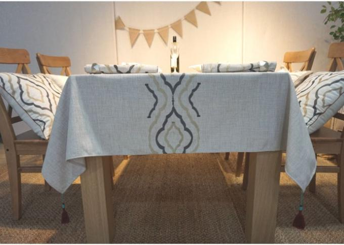 Country Style Geometric Decorative Table Cloths Embroidered Linen Cotton Material