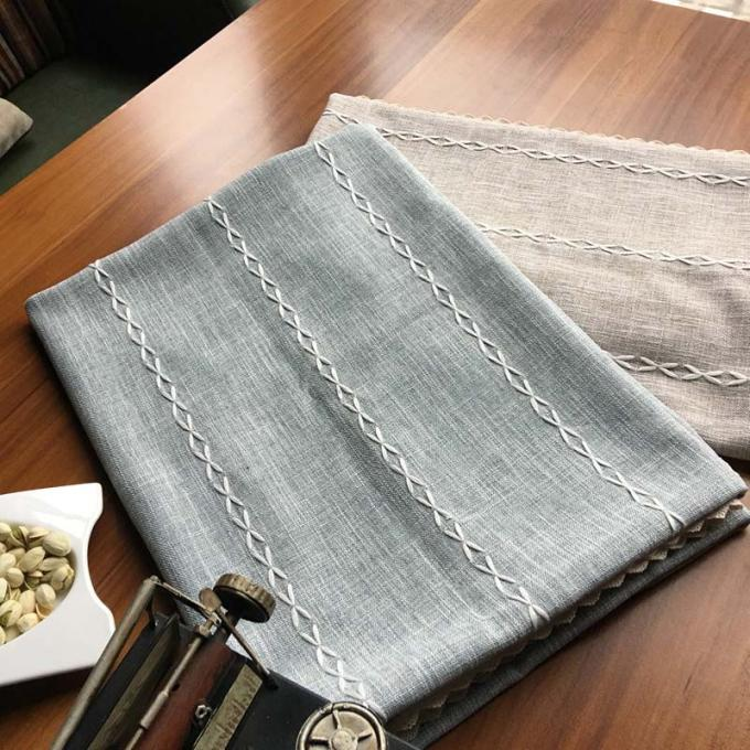 Customized Patchwork Decorative Table Cloths Gray / Ivory Cotton Linen Tablecloths
