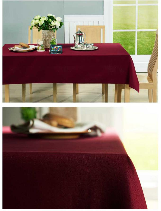 Twill Pure Color Plain Oblong Decorative Table Cloths For Indoor / Outdoor