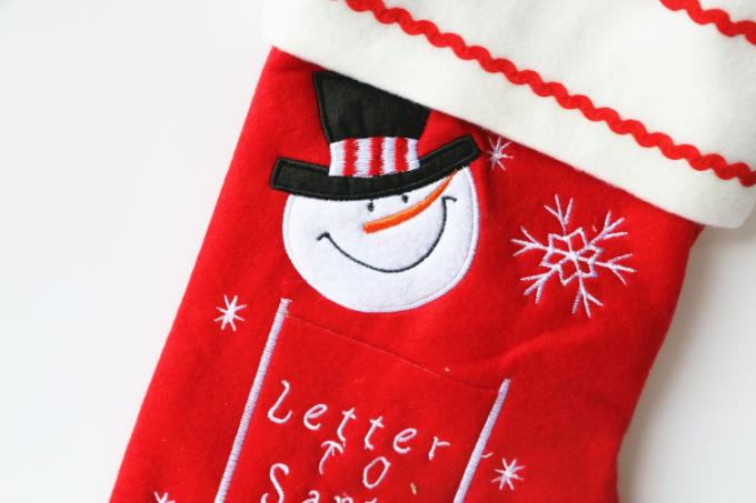 Personalized Christmas Stockings , Red Embroidered Christmas Stocking