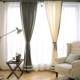 China 100% Linen Cotton Window Curtains , Country Style Grey And White Curtains supplier