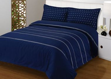 China 4Pcs Blue Bedding Sets , 100% Cotton Diamond Embroidered Navy Simple Bedding Sets supplier
