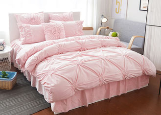 China Pink / Blue / White Ruched Home Comforter Bedding Sets 4 Pcs 100% Cotton supplier
