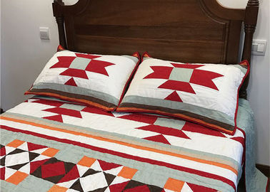 China Patchwork Geometric Bedding Sets , Quilting Handmade Twin Bed Sets For Adults supplier