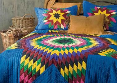 China Geometric Design Handmade Bedding Sets , 100% Cotton Colorful Bedding Sets supplier