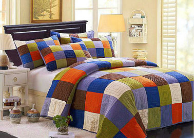 China Hand Sewing Colorful Patchwork Twin Size Bed Sets 4 Pcs Machine Wash supplier