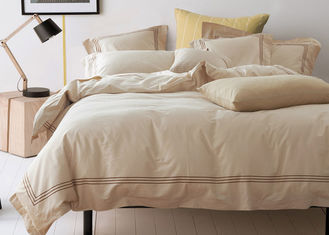 China Straight Line Embroidered Solid Duvet Covers , Color Customized Home Duvet Covers supplier
