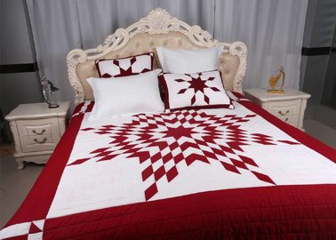 China Unique Lone Star Geometric Bedspreads And Coverlets Red / White For Home supplier