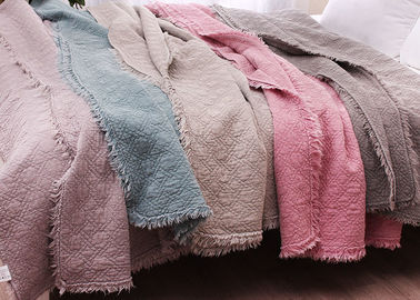 China 3pcs / 5pcs Full Size Quilt Washed Solid Embroidered Bedspread And Coverlets supplier