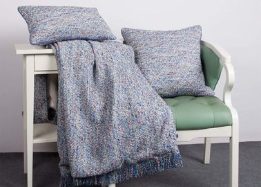 China Woven Blue Couch Throw Blanket Multiple Colors 100% Polyester For Home supplier