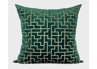 China Forest Green Decorative Throw Pillows Geometric Embroidered 100% Velvet supplier