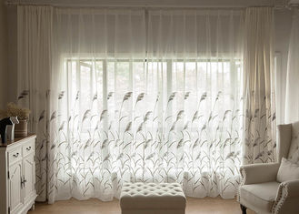 China Country Style white window curtains , Embroidered modern bedroom curtains supplier