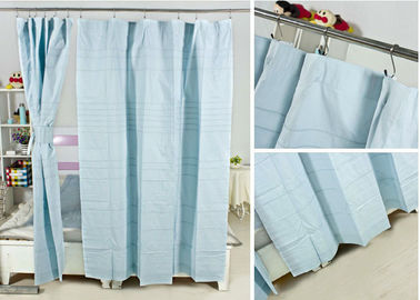 China Ruffled Blackout Modern Window Curtains Light Blue Color 100% Cotton Country Style supplier