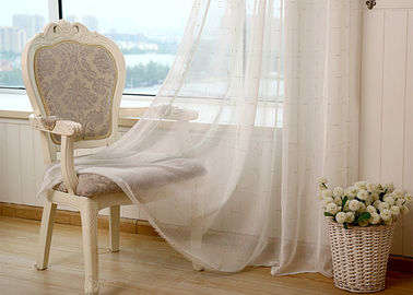 China Linen Yarn Blending Pure White Bathroom Window Curtains With Different Size supplier