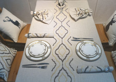 China Country Style Geometric Decorative Table Cloths Embroidered Linen Cotton Material supplier