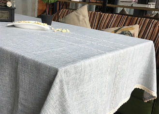 China Customized Patchwork Decorative Table Cloths Gray / Ivory Cotton Linen Tablecloths supplier