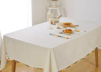 China Customized Personalized Fashion Gifts Polyester Handmade Decor White Table Cloth supplier
