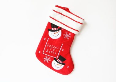 China Personalized Christmas Stockings , Red Embroidered Christmas Stocking supplier