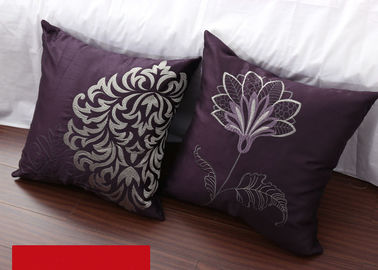 China Luxury Flowers Square Pillow Covers Pattern Embroidered Purple Throw Pillows supplier