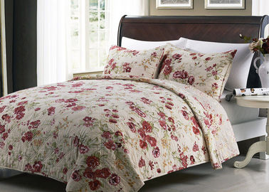 China White Quilted Bedspreads And Coverlets 3pcs Printed Machine Quilting supplier