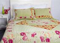 Embroidered Velvet Quilted Bedspread , Straight Lines 3pcs Cotton Quilts And Coverlets