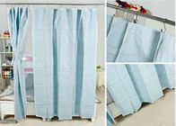 China Ruffled Blackout Modern Window Curtains Light Blue Color 100% Cotton Country Style factory