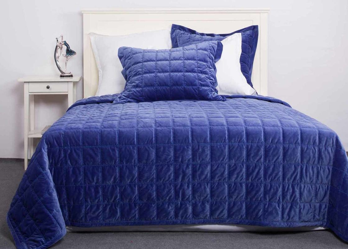 Solid Velvet Quilted Coverlet And Shams 3 Pcs Twin Queen