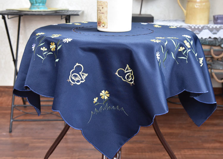 Chemical Fiber Embroidered Linen Tablecloth Country Style Square Cotton