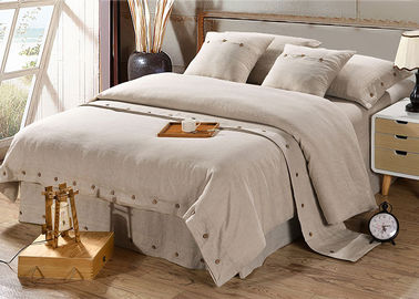 Pure Linen Wooden Buttons Modern Bedding Sets 4Pcs Real Simple Logo Customized