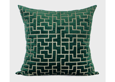 Forest Green Decorative Throw Pillows Geometric Embroidered 100% Velvet