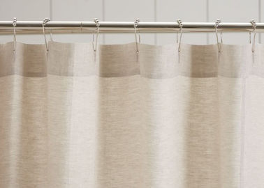 Customized Pure Linen Ruffle Shower Curtain HandMade White / Gray / Flax