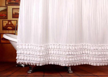 Ruffled White Bathroom Shower Curtains Waterproof Thickening Machine Wash