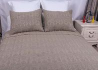 100% Linen Cotton Bedspreads And Coverlets Plain Dyed Geometric Embroidered